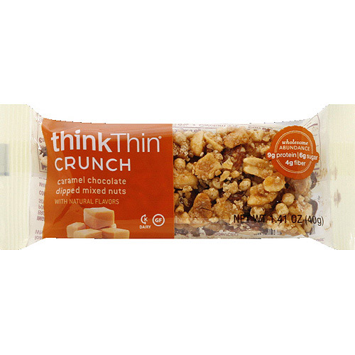 thinkThin Crunch Caramel Chocolate Dipped Mixed Nuts Bar, 1.41 oz, (Pack of 10)
