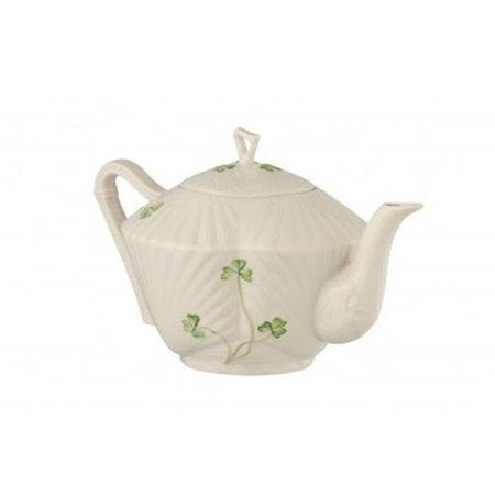 Belleek Pottery Harp Shamrock Teapot, Green/White - Poetry Halloween
