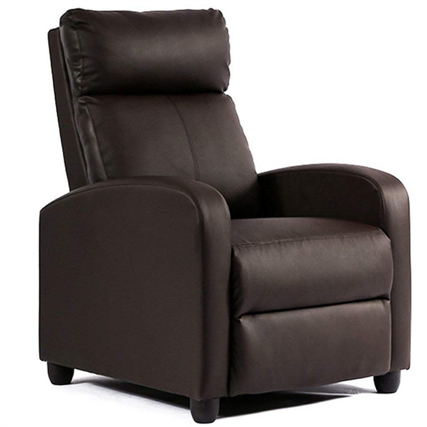 Single Sofa Recliner Chair Home Theater Seating Chair with Pocket Brown