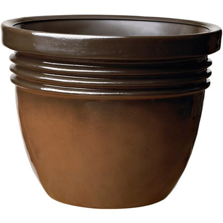 "Image of Better Homes and Gardens Bombay 16"" Decorative Planter, Espresso Bean"