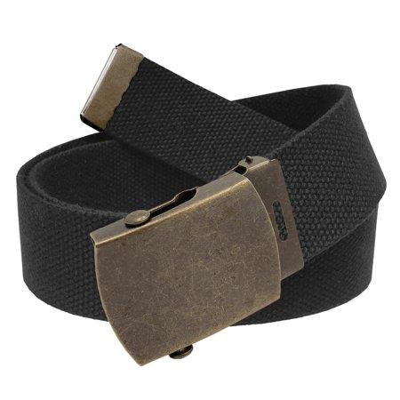 Men's Golf Belt in 1.5 Antique Gold Brass Slider Buckle with Canvas Web Belt Small (Catchers Slider Shorts)