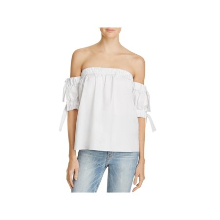 Milly Womens Poplin Bow Casual Top