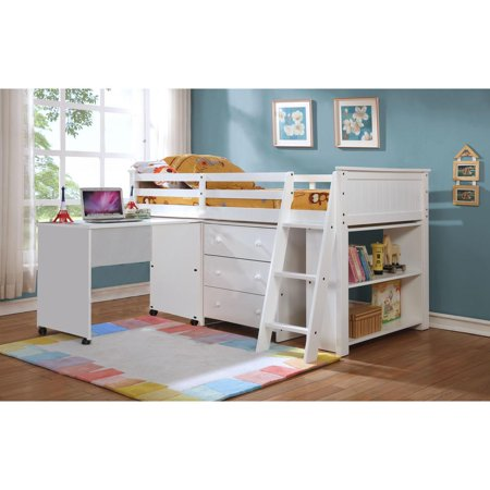 Leo Loft Bunk Bed with Drawer Chest, Tiers Book Shelf and Rolling Desk with shelf - White