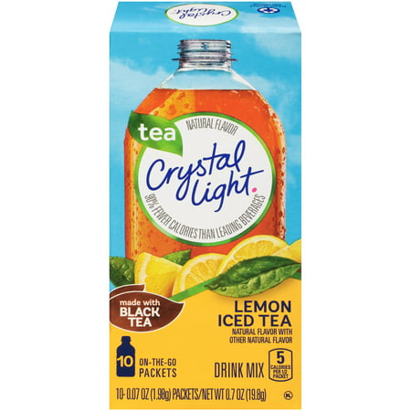 (4 pack) Crystal Light On-the-Go Lemon Iced Tea Drink Mix, 10 Packets