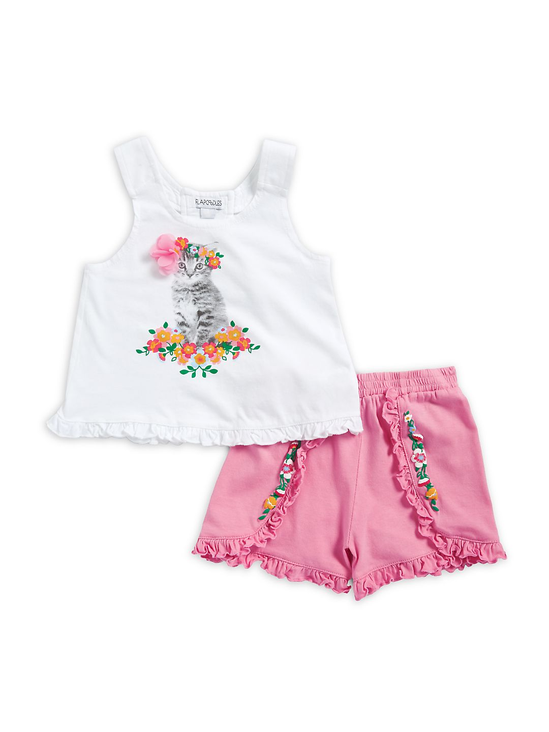 Little Girl's Two-Piece Kitten Floral Shirt and Shorts