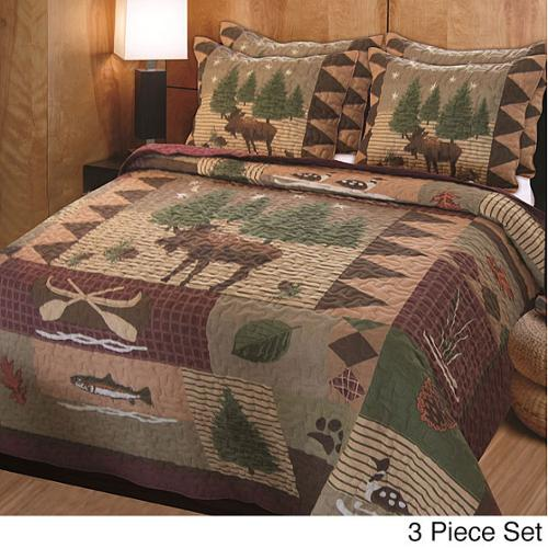 Greenland Home Fashions Moose Lodge 3-piece Quilt Set Full/ Queen