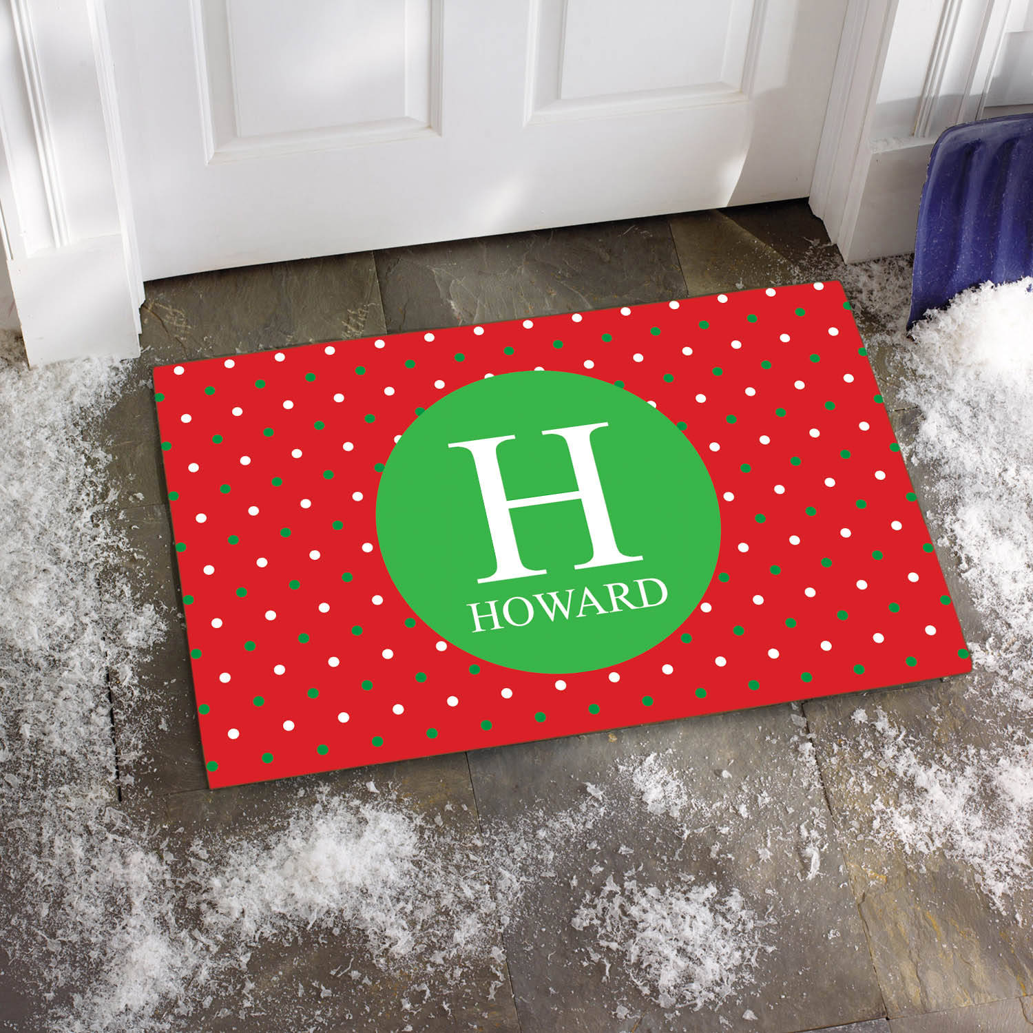 Personalized Holiday Dots Family Name Doormat, Available in Different Sizes