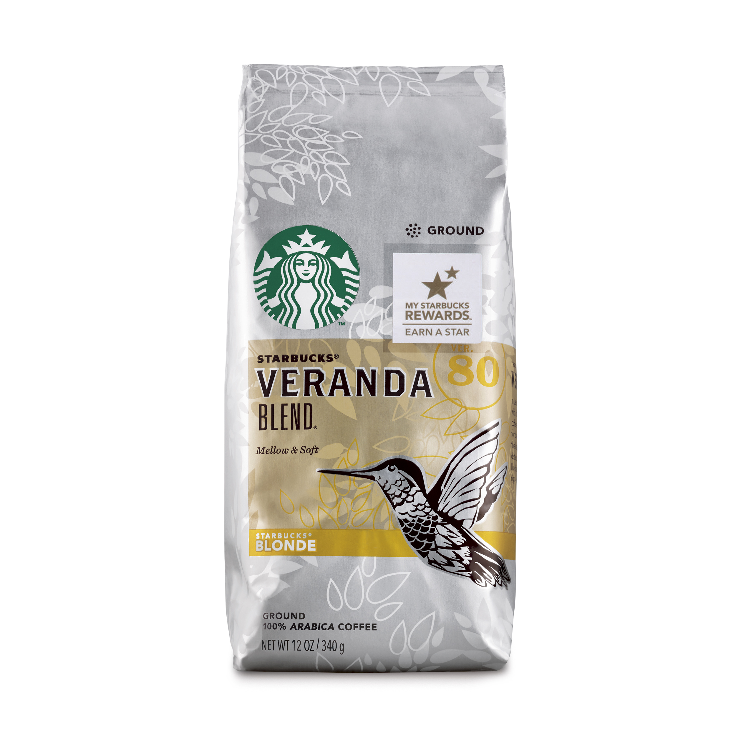Starbucks Veranda Blend Light Blonde Roast Ground Coffee, 12-Ounce Bag