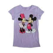 Disney Little Girls Violet Minnie Mickey Mouse Print Cotton T-Shirt