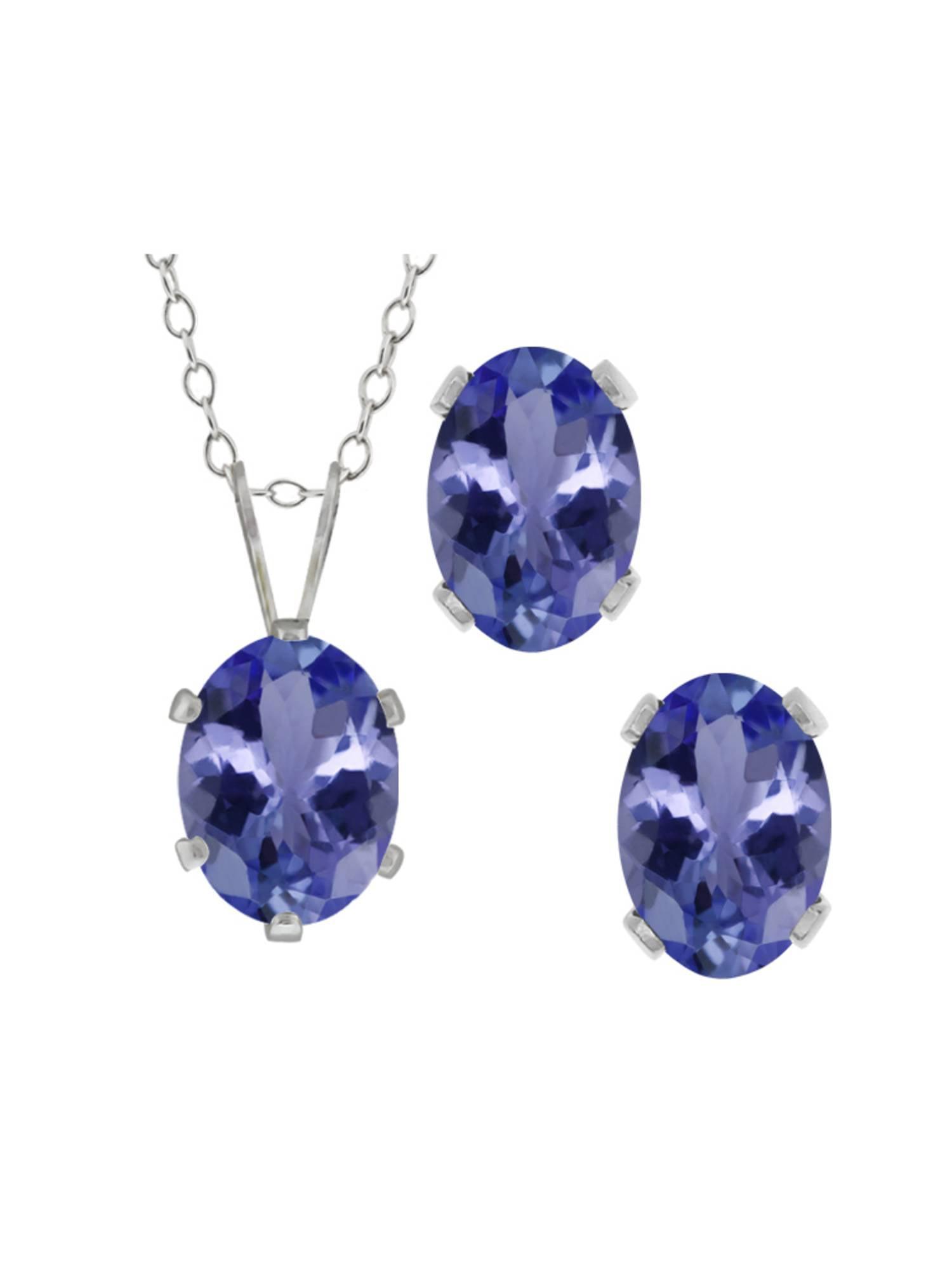 2.66 Ct Oval Blue Tanzanite Gemstone Sterling Silver Pendant Earrings Set by