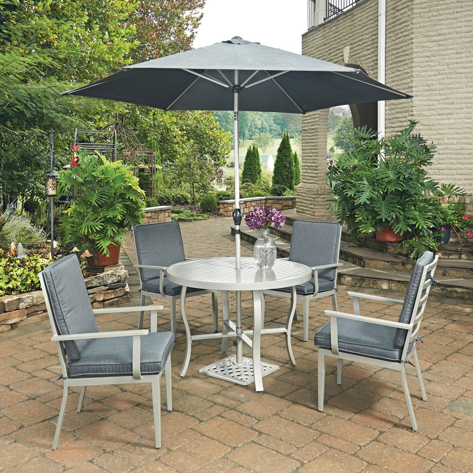 South Beach 7 Pc. Round Outdoor Dining Table& 4 Chairs, with Umbrella & Base