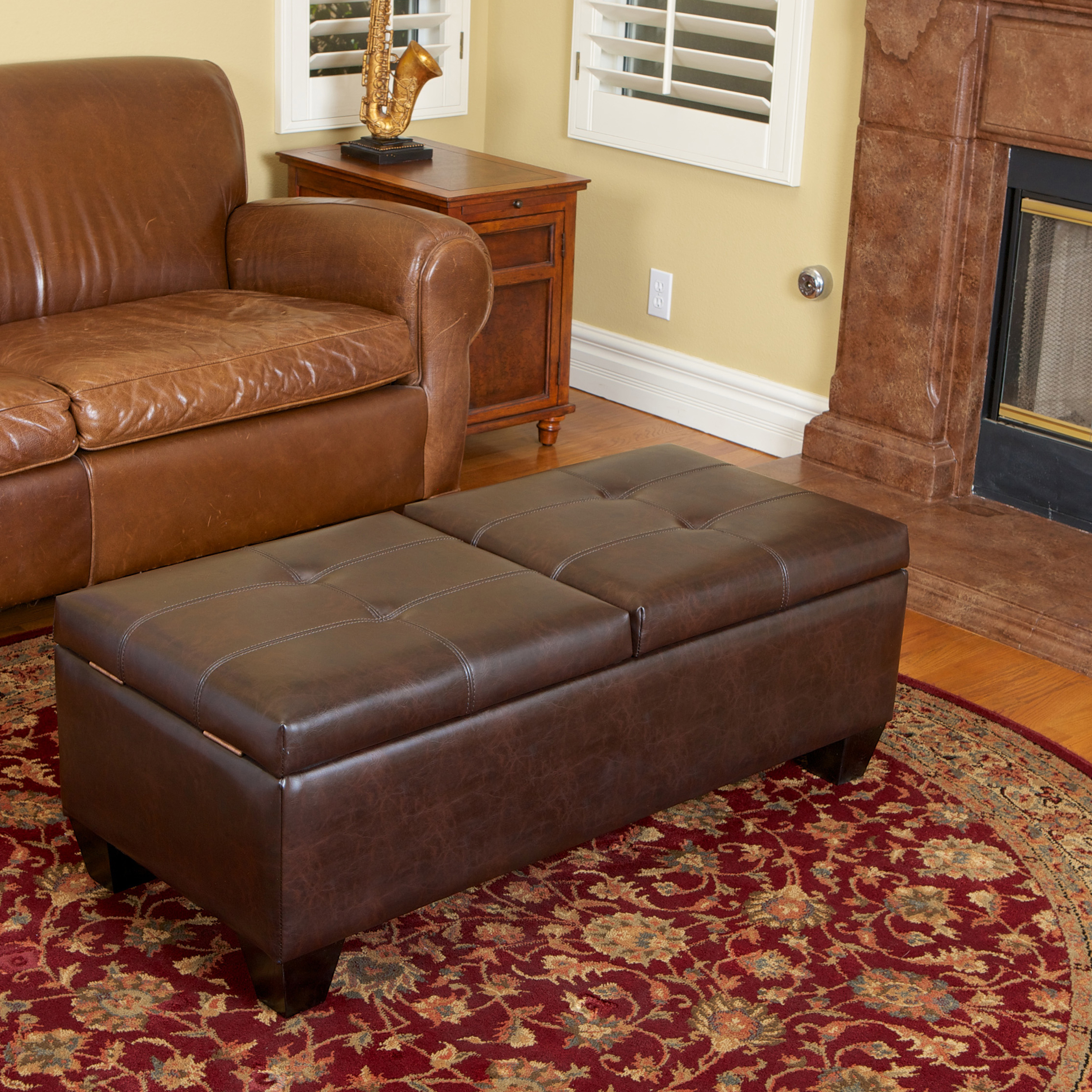 Munford Double Opening Chocolate Brown Leather Storage Ottoman