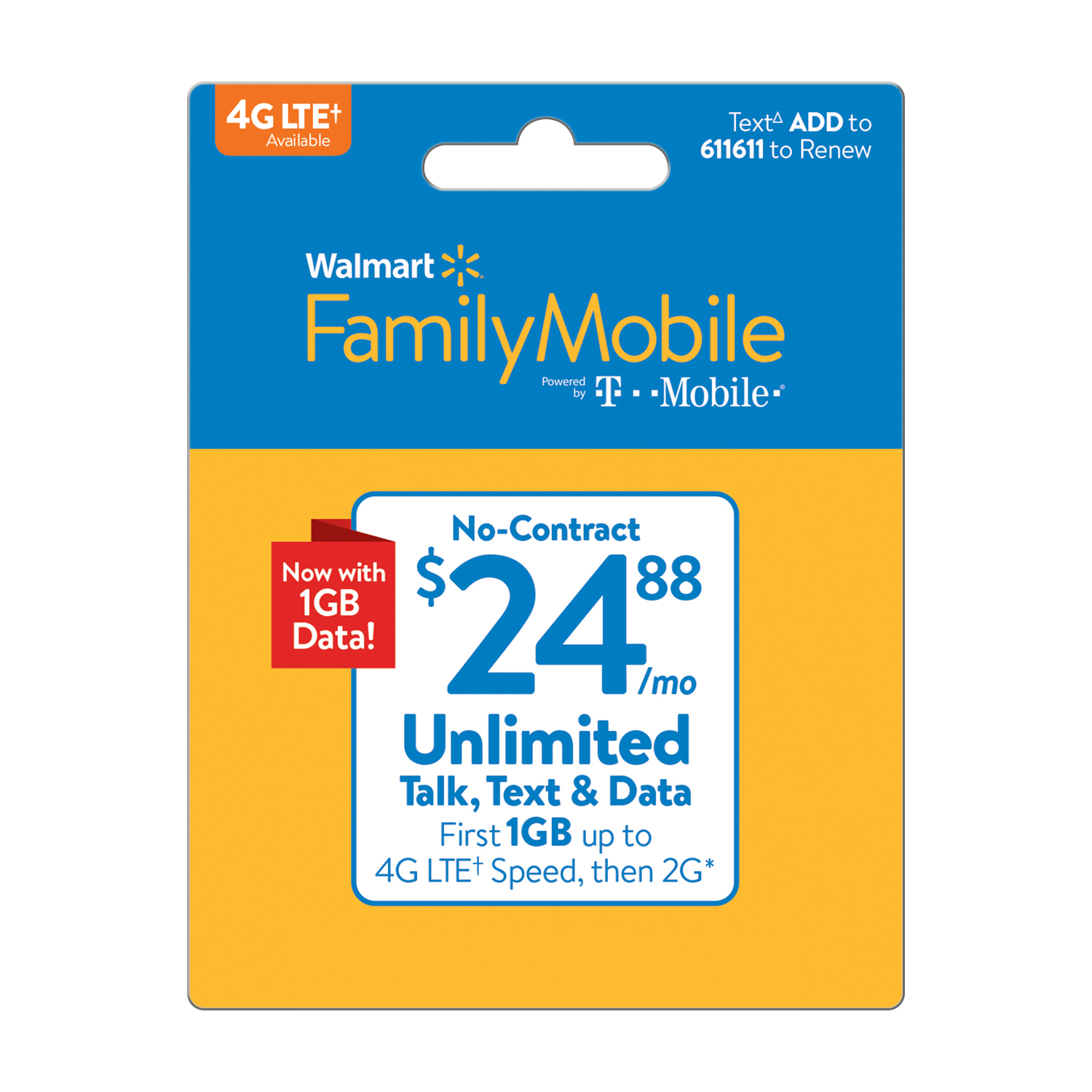 Walmart Family Mobile $24.88 Unlimited Monthly Plan (1GB at high speed, then 2G*) (Email Delivery)
