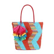 Zig-Zag straw Summer tote Beach Bag By Daisy Rose| Summer Beach Tote Tassels