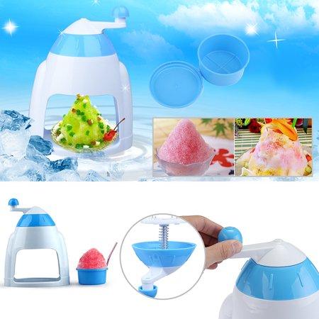 Hand Crank Manual Ice Crusher Shaver Shredding Snow Cone Maker hine Color:Blue - image 3 de 8