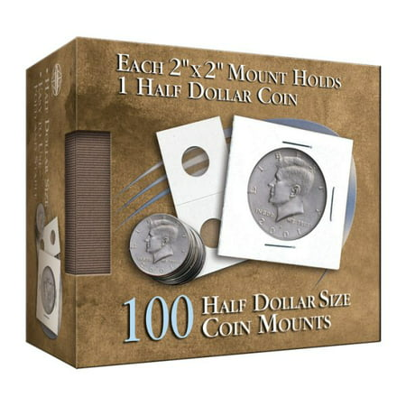 Half Dollar 2x2 Coin Mounts Cube 100 Count (Hardcover)