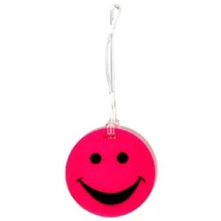 Lewis N Clark ID99PNK Smiley Face Rubber Luggage Tag- Pink ()