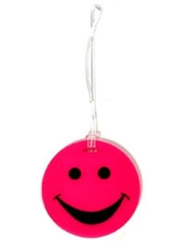 Lewis N Clark ID99PNK Smiley Face Rubber Luggage Tag- Pink