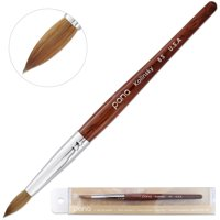 Pana USA Acrylic Nail Brush 100% Pure Kolinsky Hair Mahogany Wood Handle with Silver Ferrule Round Shaped Style (Size # 8, Mahogany)