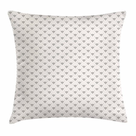 Diamonds Throw Pillow Cushion Cover, Polka Dots Background with Abstract Monochrome Classic Stone Motifs Geometrical, Decorative Square Accent Pillow Case, 18 X 18 Inches, Ivory Black, by Ambesonne (Polka Dots Background)