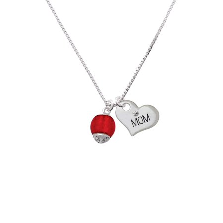 (12mm Scarlett Red Roller Spinner with Silvertone Lining Glass Spinner Mom Heart Necklace)