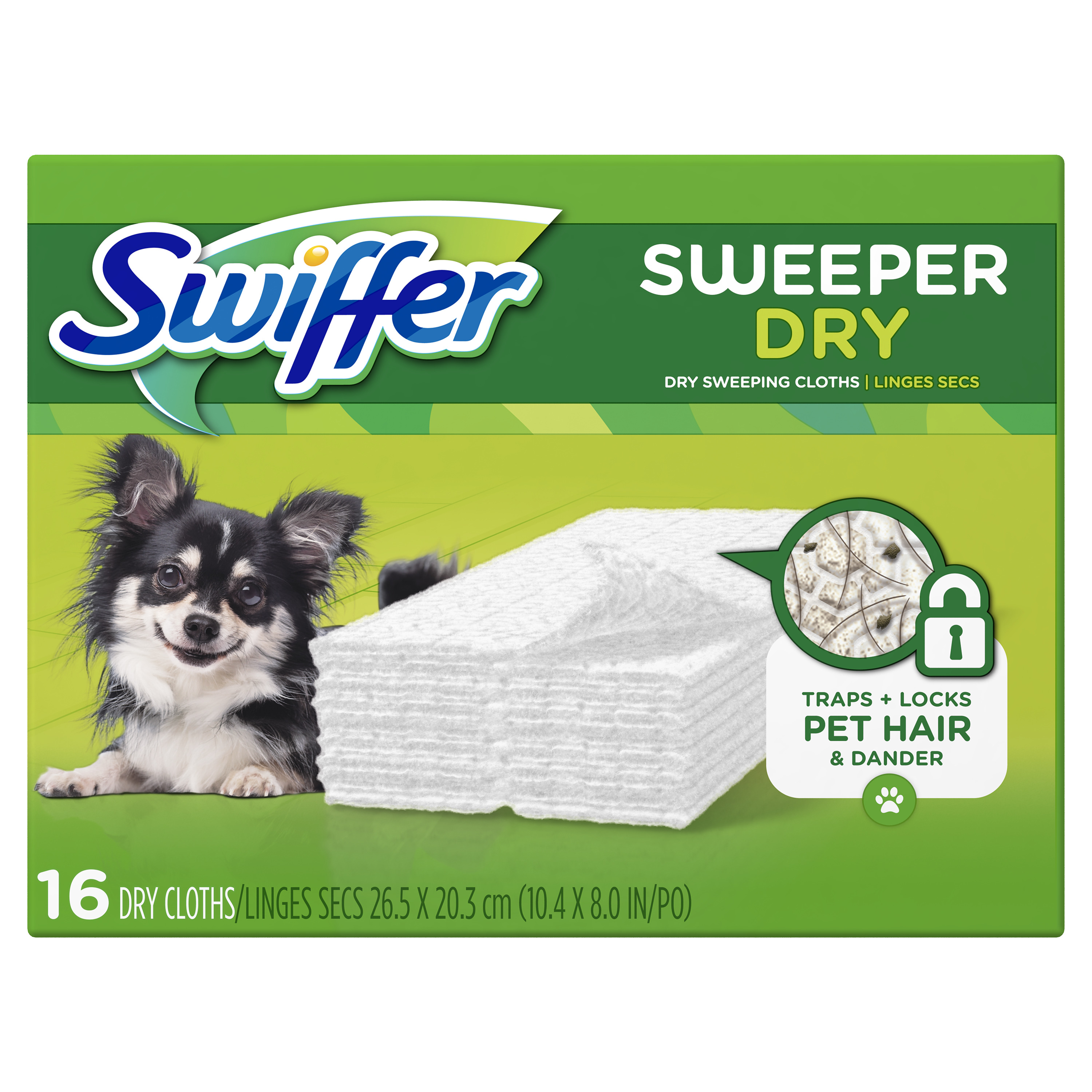 Swiffer Sweeper Dry Sweeping Pad Pet Multi Surface Refills for Dusters Floor Mop, Unscented, 16 Count