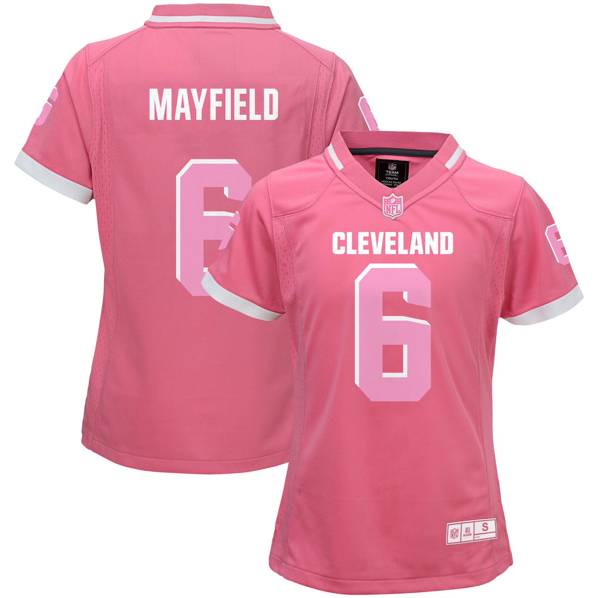 Baker Mayfield Cleveland Browns Girls Youth Bubble Gum Jersey - Pink