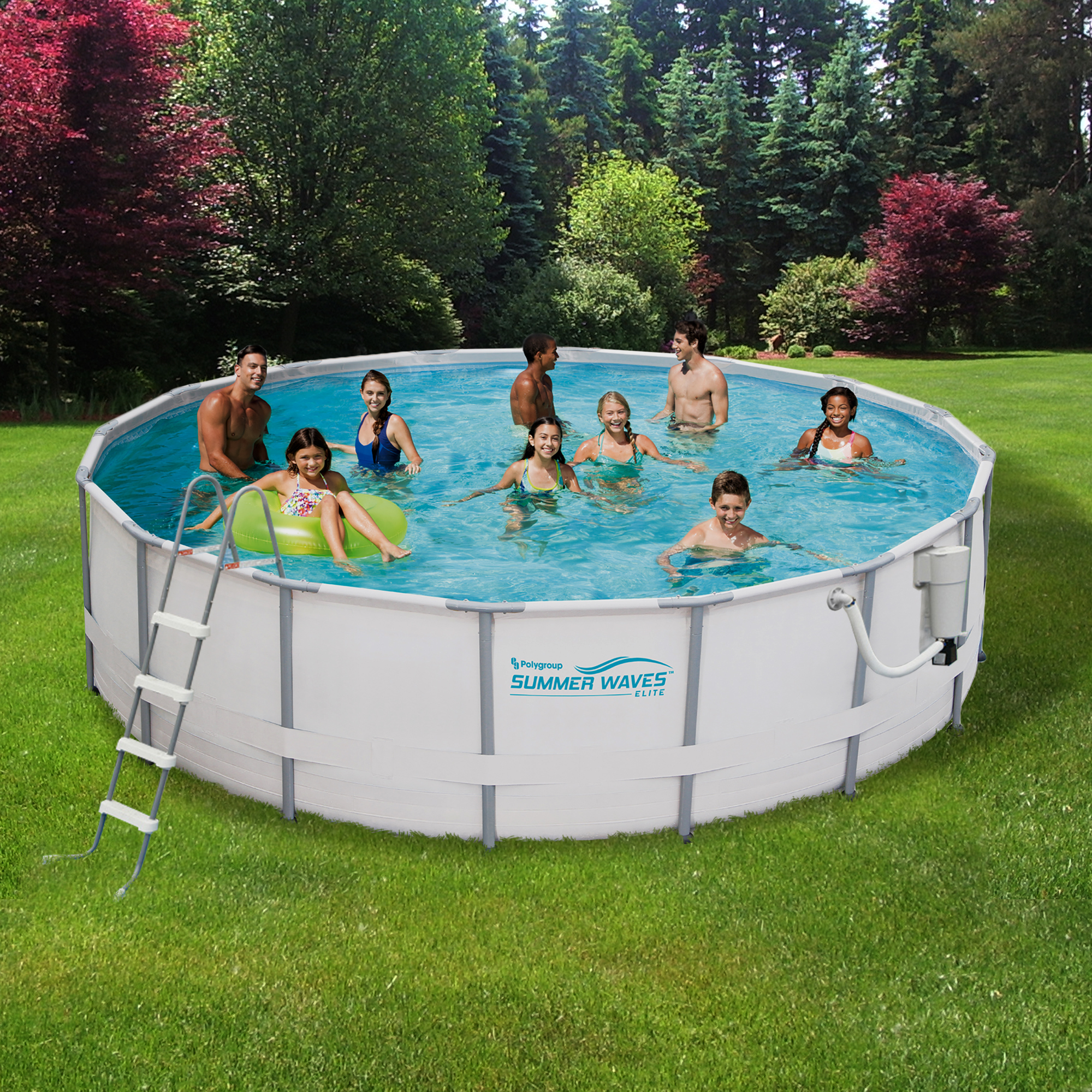 Summer Waves Elite 15-ft Round 48-in Deep Metal Frame Swimming Pool Package by Blue Wave
