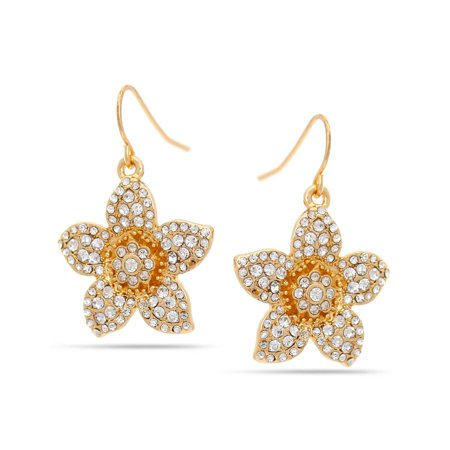 (TAZZA WOMEN'S GOLD CRYSTAL FLOWER DROP EARRINGS)