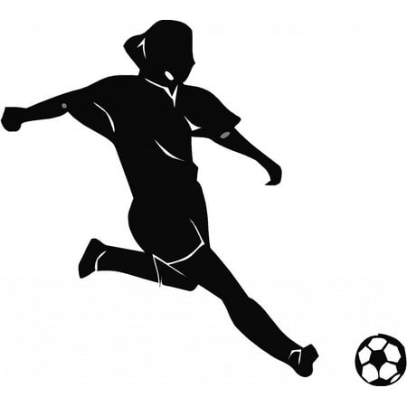 Custom Wall Decal Soccer Woman Picture Art Living Room Home Decor Sticker - Vinyl Wall Decal - Size : 12 X 12 Inches - Soccer Room Decor