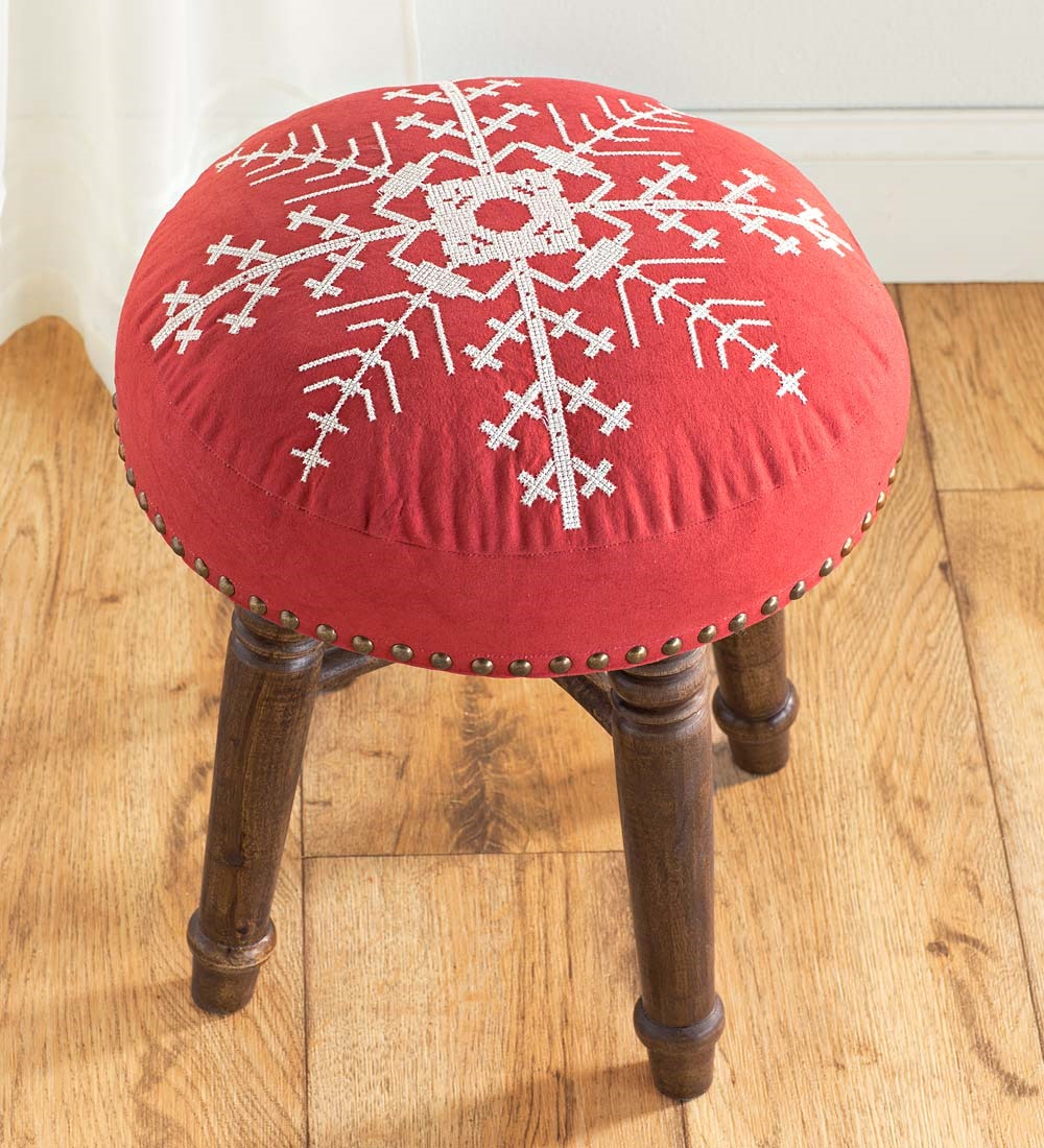 UpholsteRed Snowflake Stool