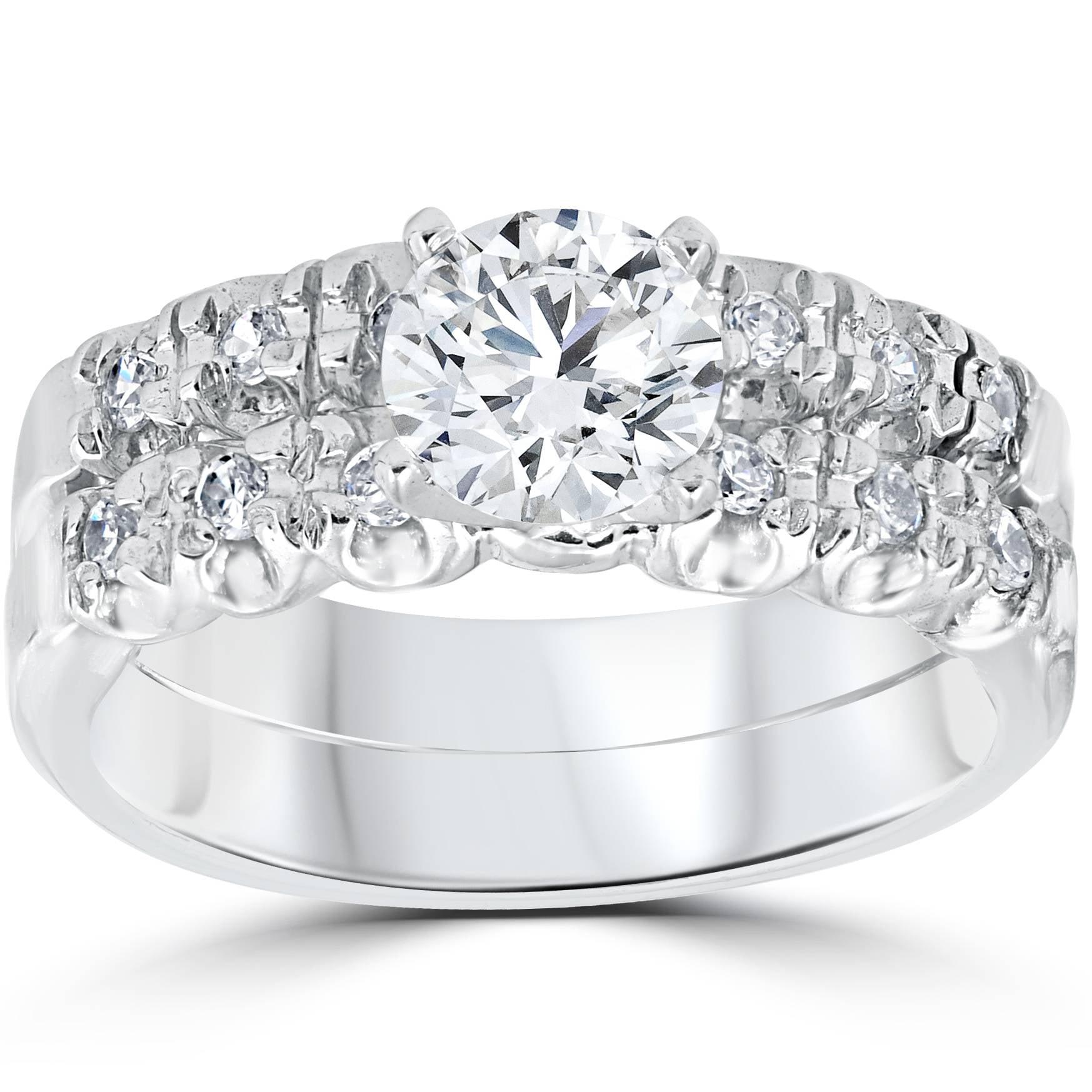 1 Carat Diamond Engagement Ring Matching Wedding Band Prong Set 14K White Gold by Pompeii3