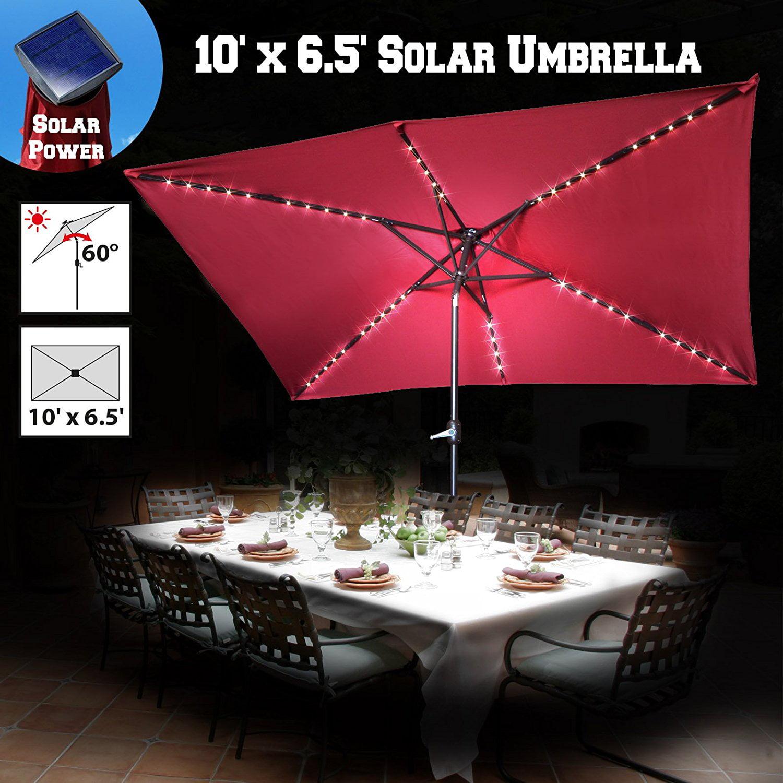 Strong Camel 10 X 6 5 Rectangle Patio Umbrella Solar Powered 50 Led Light Poolside Crank Tilt Outdoor Garden Sunshade Burgundy Walmart Com Walmart Com
