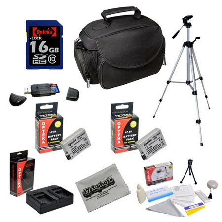 Opteka Professional Shooters Kit with Opteka 16GB SDHC Memory Card, Microfiber Deluxe Bag, Full Size Tripod, Extended LP-E8 Batteries and More for Canon EOS Rebel T2i T3i T4i T5i DSLR Digital Camera