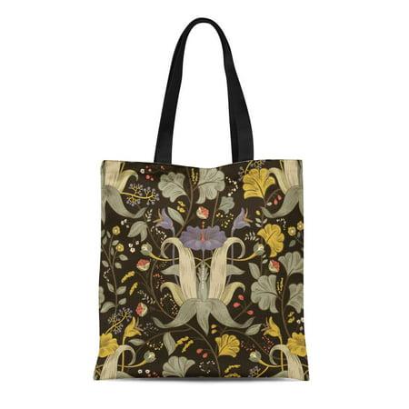 HATIART Canvas Tote Bag Ancient Floral Vintage Retro Plants Flowers Modern Colorful Damask Durable Reusable Shopping Shoulder Grocery Bag - image 1 de 1