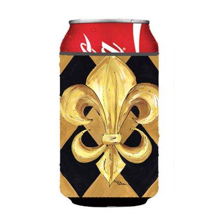 Carolines Treasures 8125CC Black and Gold Fleur de lis New Orleans Can or Bottle  Hugger - image 1 of 1