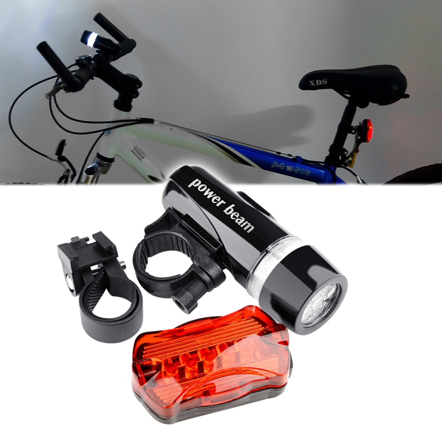 Insten Bike Bicycle Front Head Headlight and Tail Flahlight Set (Rear Lamp contains 5 LED light Multi-Modes Signal)