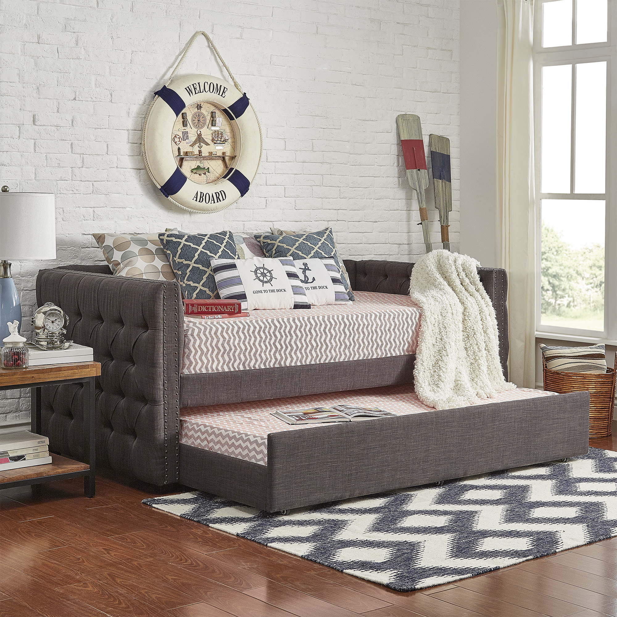Weston Home Kenswick Tufted Upholstered Twin Daybed with Trundle, Multiple Colors