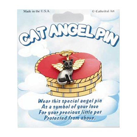 Pewter & Gold-tone Cat Angel Pin (1x0.5mm)