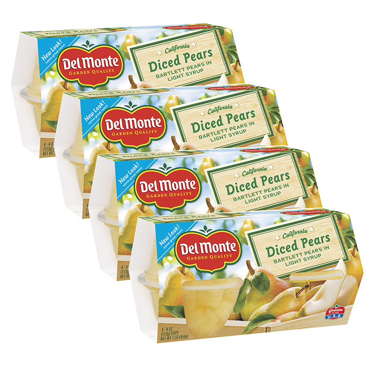 (4 Pack) Del Monte Diced Pears in Light Syrup, 4 oz Cup, 4 Count Box
