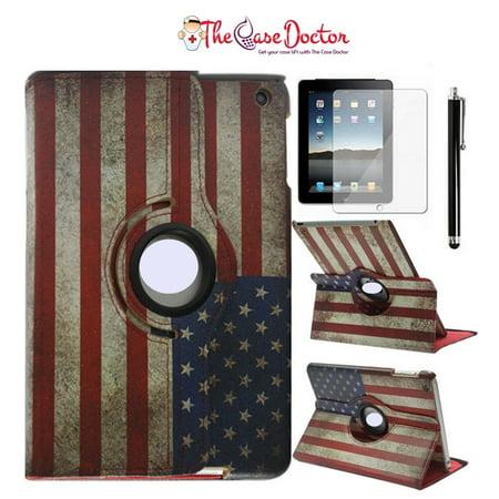 Vintage AMERICAN FLAG Leather Rotating Kickstand Case for Apple iPad Mini 1 2 3 (American Flag I Pad Mini Case)
