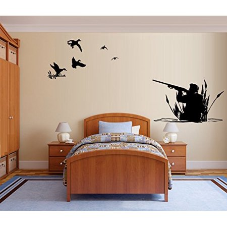 Hunter and Ducks ~ WALL or Window Decal EX Large two Sections 21