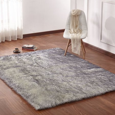 Rosdorf Park Opaly Fox Animal Faux Fur White Gray Area Rug