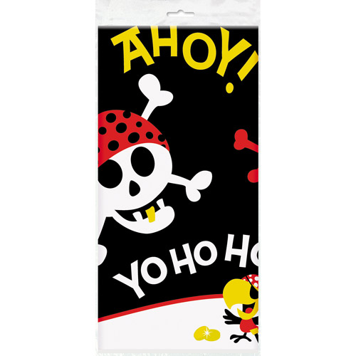 "Plastic Pirate Party Table Cover, 84"" x 54"""