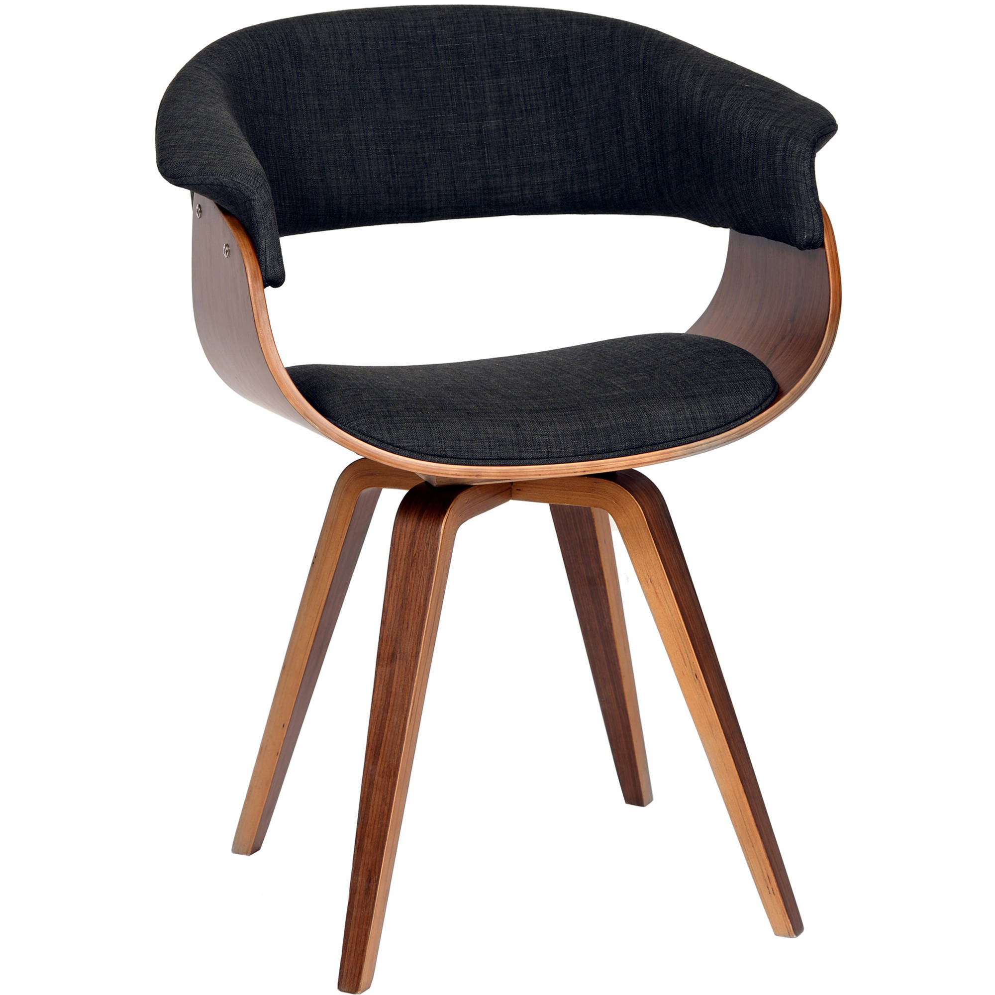 ARMEN LIVING Summer Modern Chair, Charcoal Fabric and Walnut Wood