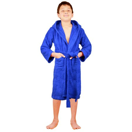 Kids Girls Boys Robe 100% Cotton Soft Terry Hooded Bathrobe Luxury Dressing Gown - Kids Bathrobe
