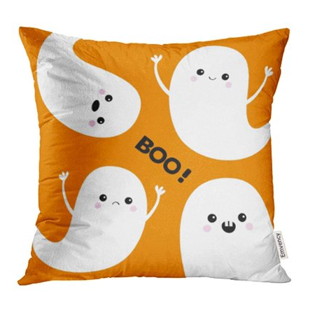 ARHOME Flying Ghost Spirit Boo Happy Halloween Four Scary White Cute Cartoon Spooky Pillow Case Pillow Cover 18x18 inch Throw Pillow Covers