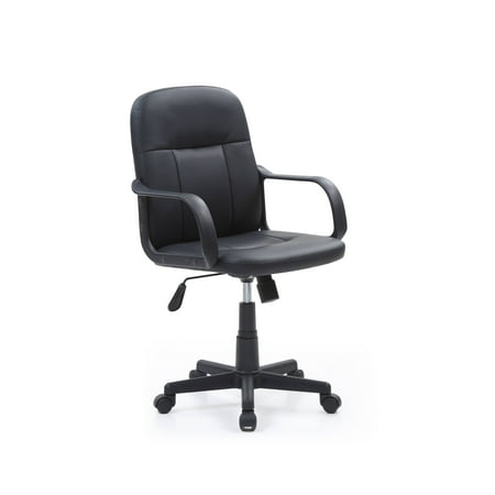Hodedah Mid-Back, Adjustable Height, Swiveling Office Chair Upholstered in Black PU Leather (Black Soft Buck Leather)