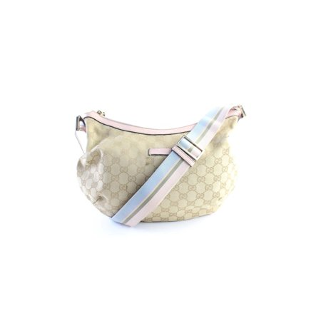 Gucci Pink Monogram Web Crescent Hobo Messenger 14GR0626
