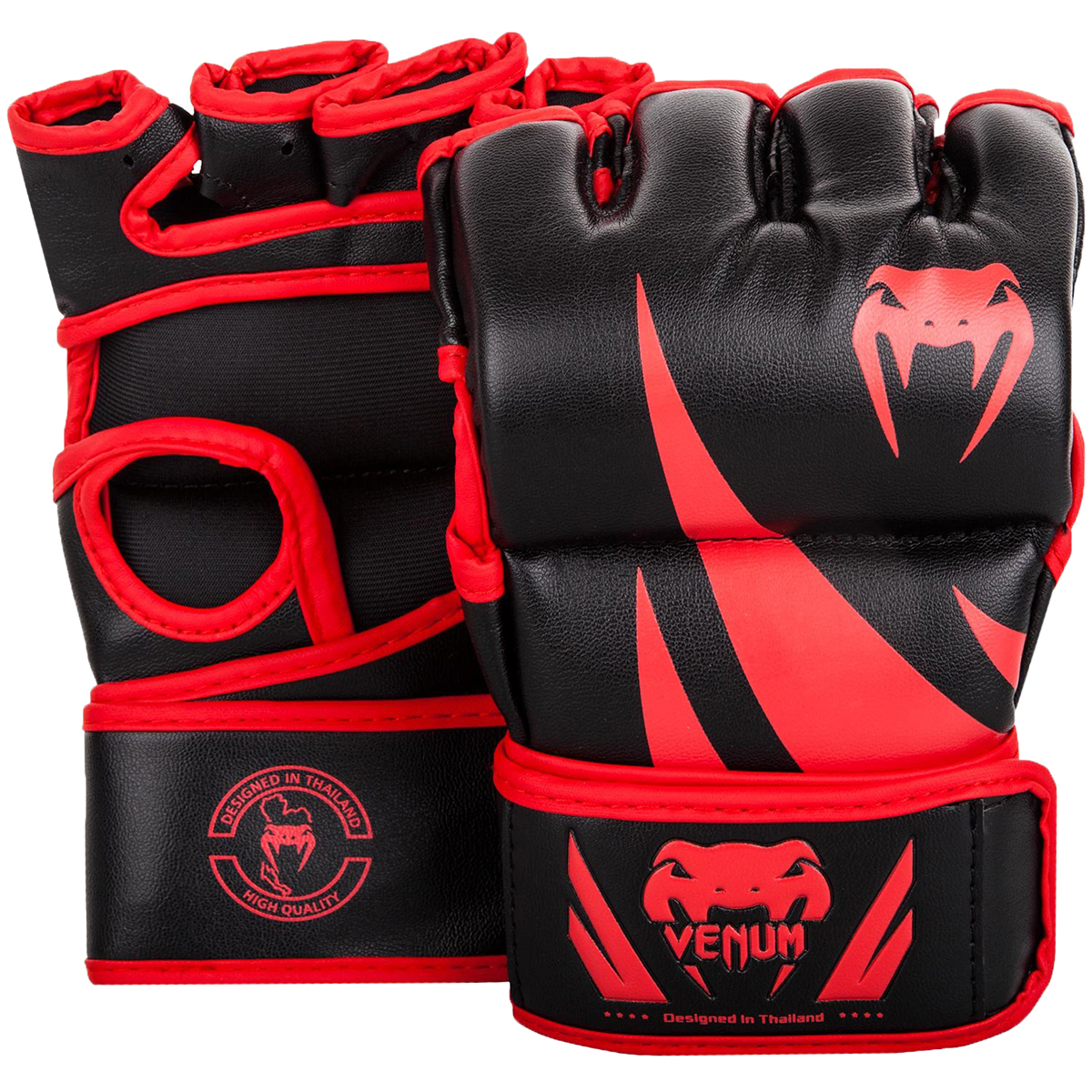 Venum Challenger Hook and Loop MMA Gloves without Thumbs-Black/Red